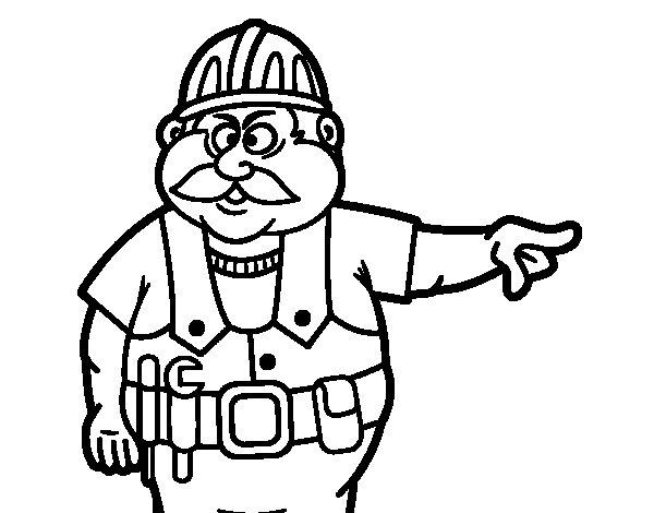 Desenho de Pedreiro para Colorir