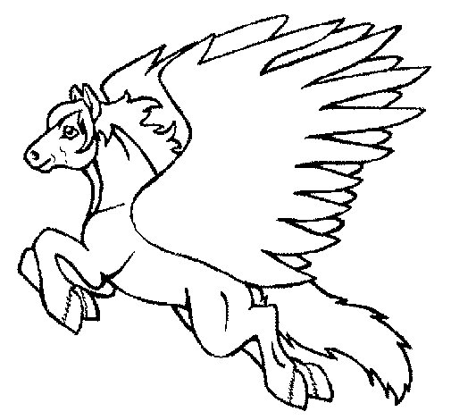 Desenho de Pégaso a voar  para Colorir