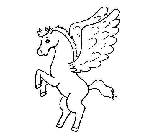 Desenho de Pégaso sobre duas patas para Colorir