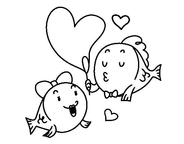 Desenho de Peixe enamorado para Colorir
