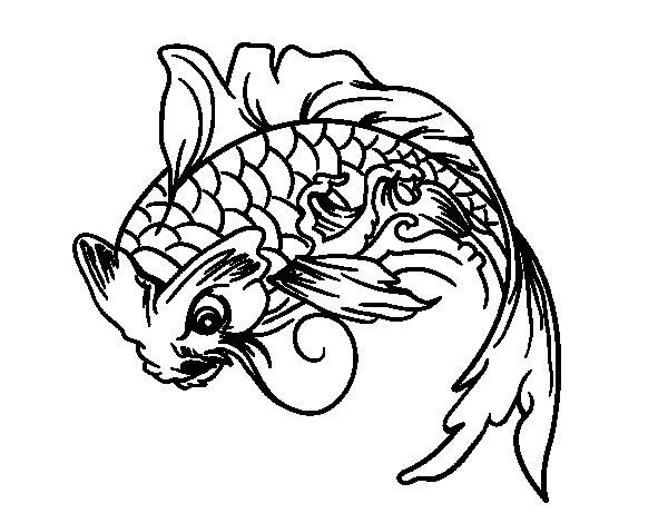 Desenho de Peixe Koi para Colorir