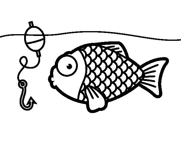Desenho de Peixe prestes a morder o anzol para Colorir