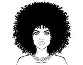 Desenho de Penteado afro para colorear