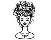 Desenho de Penteado com laço para colorear