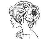 Desenho de Penteado de casamento com flor para colorear