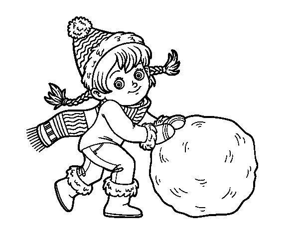 Desenho de Pequena garota com grande bola de neve para Colorir