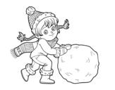 Desenho de Pequena garota com grande bola de neve para colorear