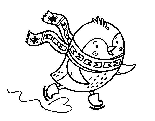 Desenho de Pequena patinação de aves para Colorir