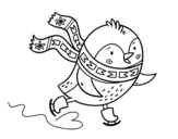 Desenho de Pequena patinação de aves para colorear