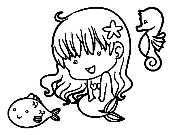 Desenho de Pequena sereia e seus amigos para Colorir