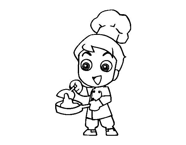 Desenho de Pequeno chef para Colorir