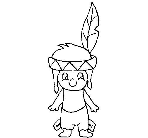 Desenho de Pequeno índio para Colorir