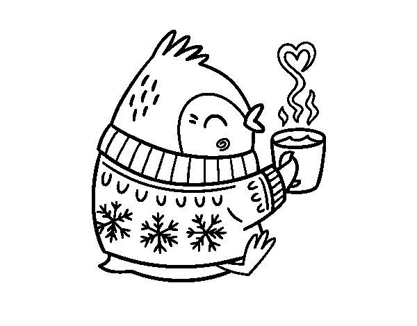 Desenho de Pequeno passarinho com um chá para Colorir