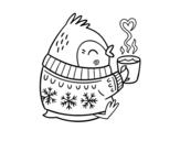 Desenho de Pequeno passarinho com um chá para colorear