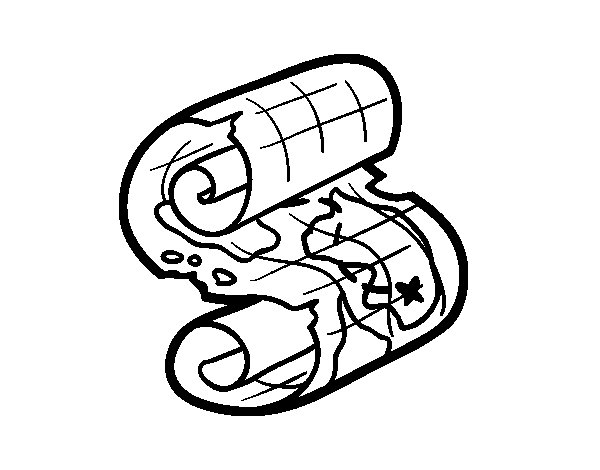 Desenho de Pergaminho pirata para Colorir