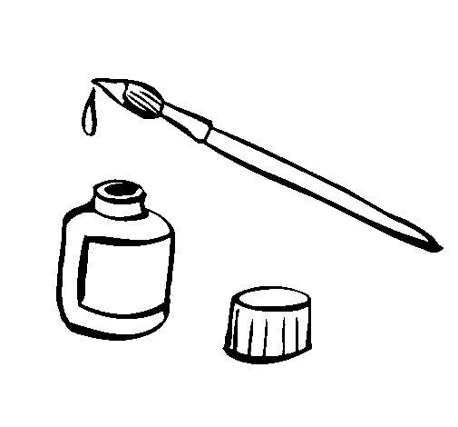 Desenho de Pincel e tinta para Colorir