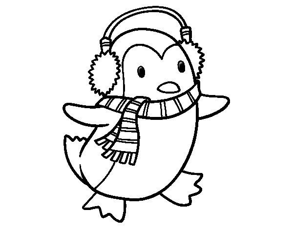 Desenho de Pinguim com cachecol para Colorir