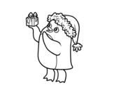 Desenho de Pinguim com chapéu e presente de Natal para colorear