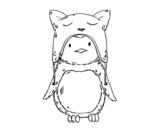 Desenho de Pinguim com chapéu engraçado para colorear
