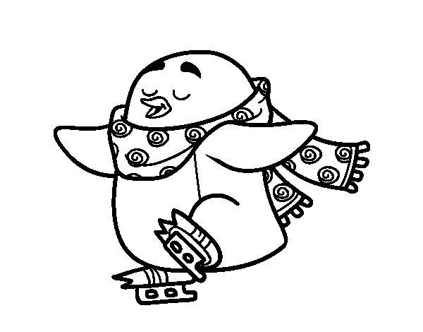 Desenho de Pinguim de patinagem no gelo para Colorir