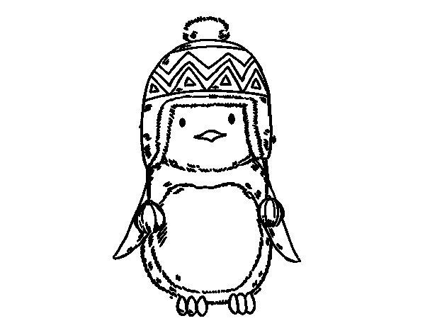 Desenho de Pinguim do bebê com chapéu para Colorir