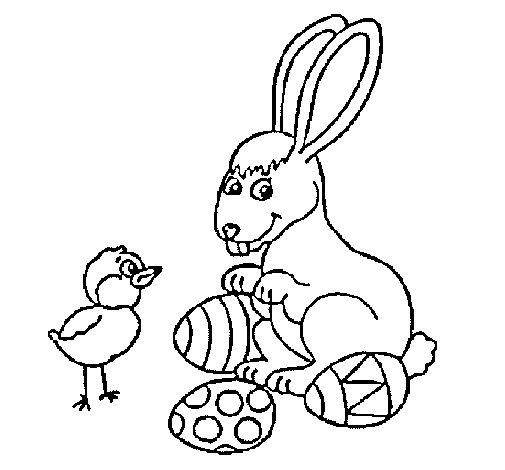 Desenho de Pinto, coelhito e ovinhos para Colorir