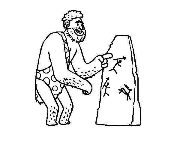 Desenho de Pinturas rupestres homem pré-histórico para Colorir