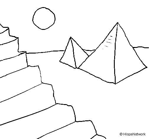Desenho de Pirâmides para Colorir
