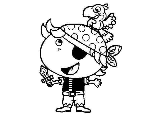 Desenho de Pirata menino com papagaio para Colorir