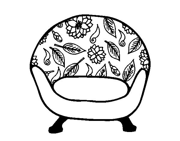 Desenho de poltrona vintage para colorir for Sala de estar png