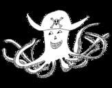 Desenho de Polvo pirata para colorear