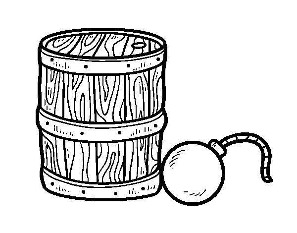 Desenho de Pólvora e bomba pirata para Colorir