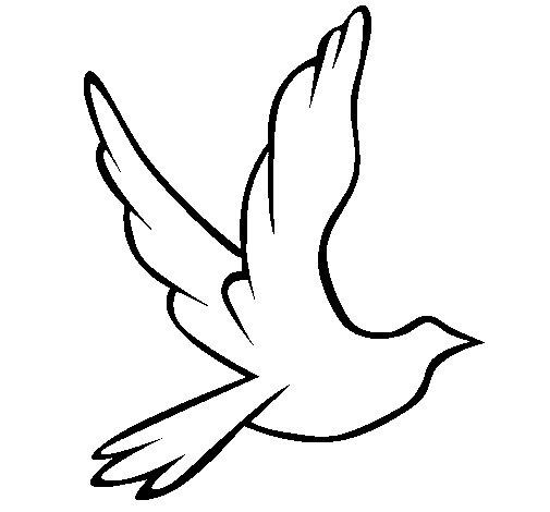 Desenho de Pomba da paz a voar para Colorir