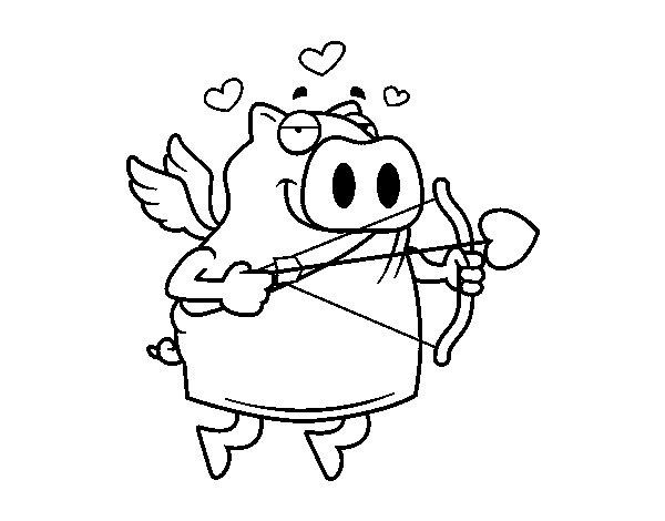 Desenho de Porco Cupido para Colorir