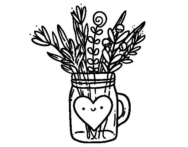Desenho de Pote com flores silvestres e um coração para Colorir