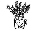 Desenho de Pote com flores silvestres e um coração para colorear