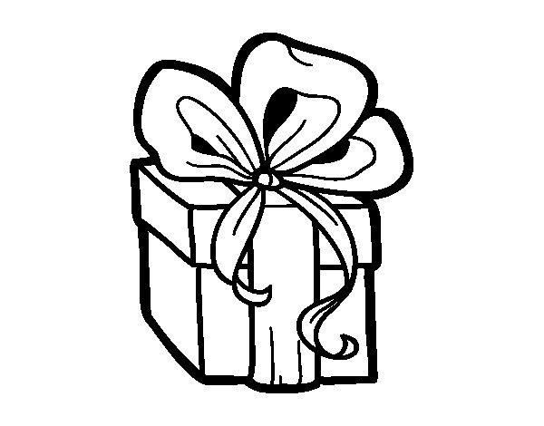 Desenho de Presente de Natal para Colorir
