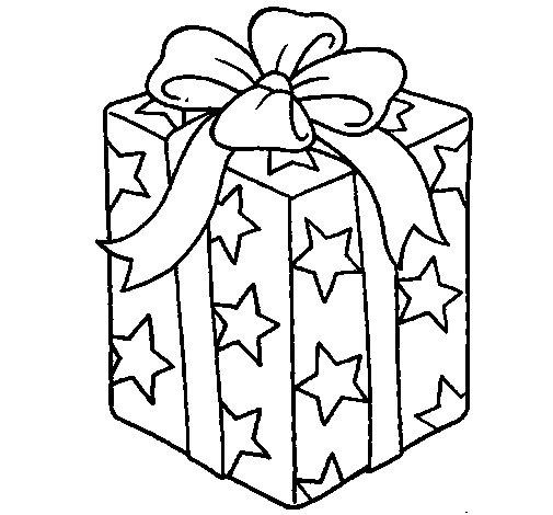 Desenho de presente envolvido em papel de estrelas para for Papel de pared para pintar