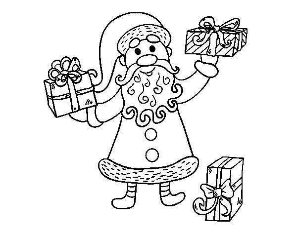 Desenho de Presentes de Papai Noel para Colorir