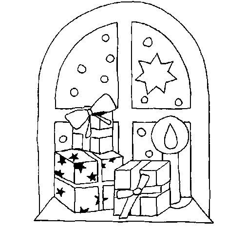Desenho de Presentes junto à janela para Colorir