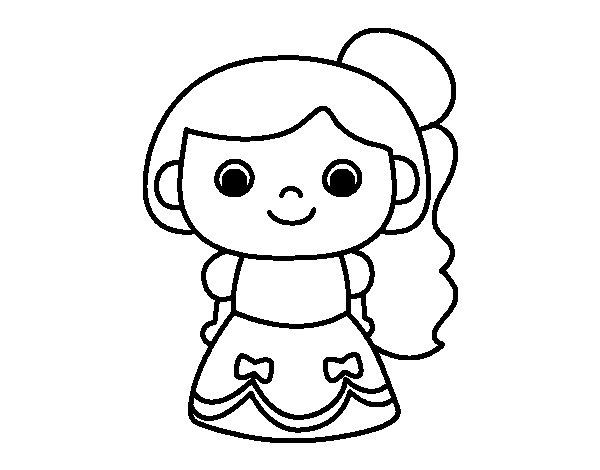 Desenho de Princesa alegre para Colorir