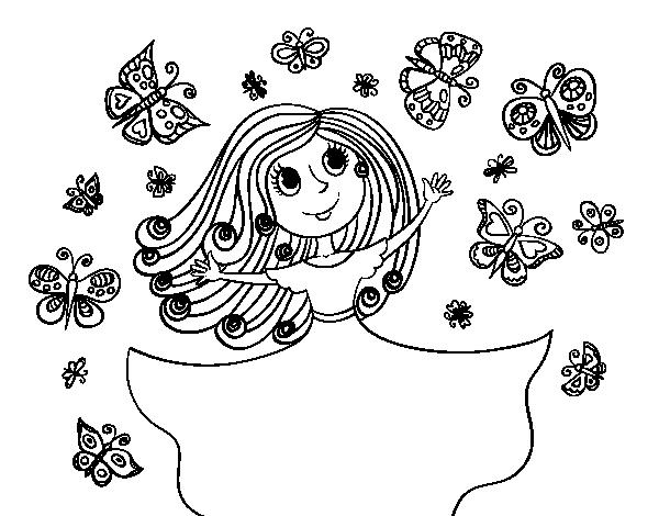 Desenho De Princesa Borboletas Para Colorir