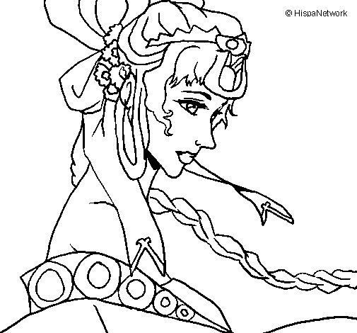 Desenho de Princesa chinesa para Colorir