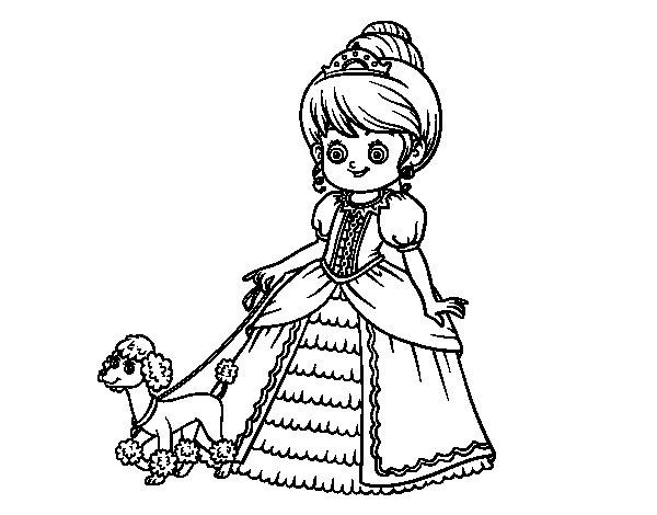 Desenho de Princesa com cachorro para Colorir