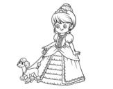 Desenho de Princesa com cachorro para colorear