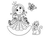 Desenho de  Princesa com o gato e borboleta para colorear