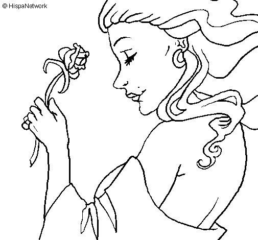 Desenho de Princesa com uma rosa para Colorir