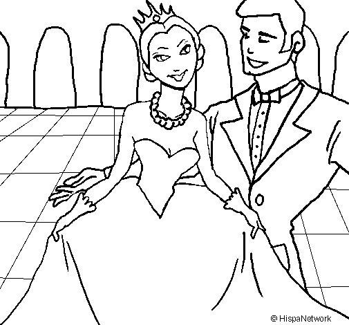 Desenho de Princesa e príncipe no baile para Colorir