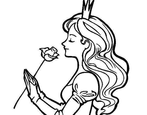 Desenho de Princesa e rosa para Colorir