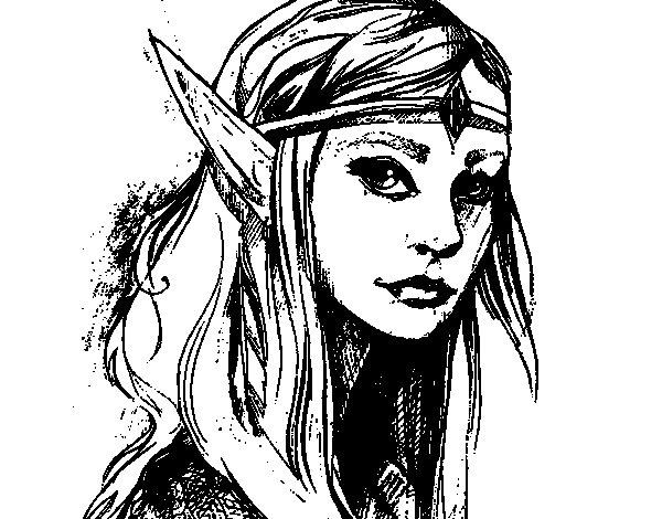 Desenho de Princesa elfo para Colorir